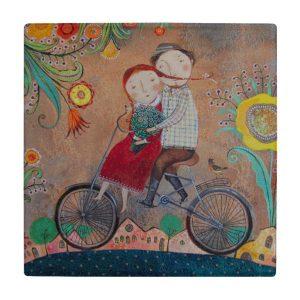 کاشی طرح دوچرخه عاشقانه