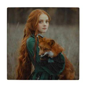 کاشی طرح نقاشی دختر و روباه